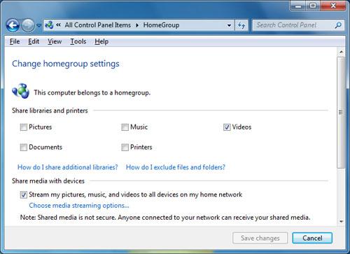 Windows 7 HomeGroup