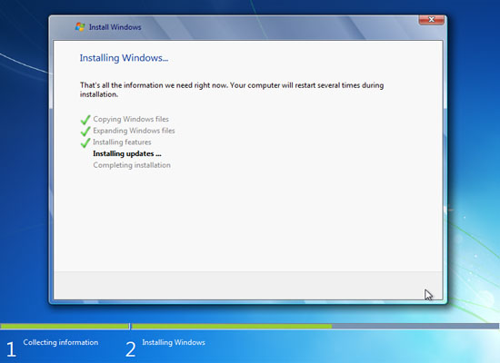 ... Windows 7 installation finishes, the windows 7 operating system will