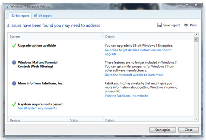 Upgrade Vista to Windows 7 Advisor Tool