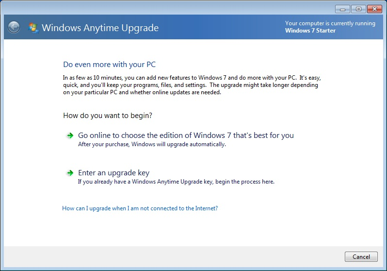 Windows 7 Starter Upgrade