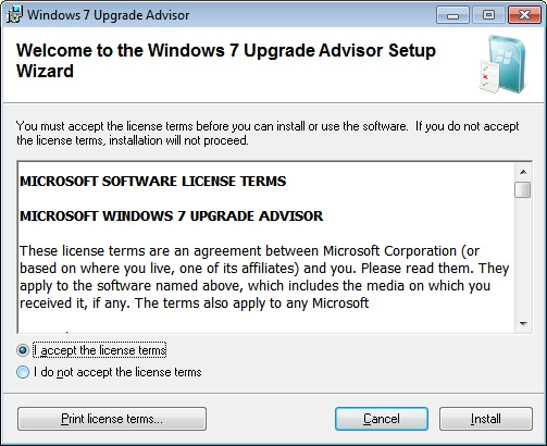 Windows 7 Upgrade Advisor Install