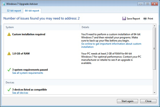 Windows 7 Upgrade Advisor Report