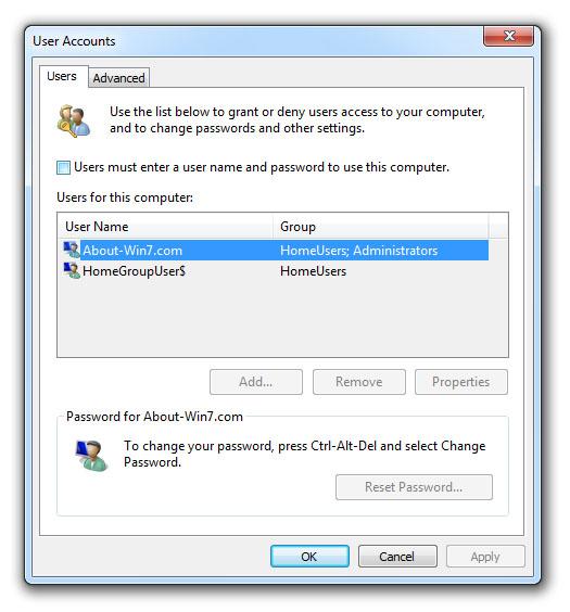 set windows 7 to auto login