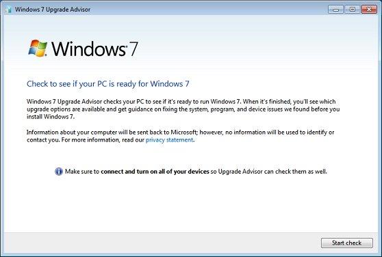 Windows 7 Upgrade Advisor Scan